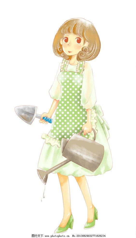 种花女孩 水壶 铲子 浇水 锄草 卡通 漫画 清新 新鲜 插图