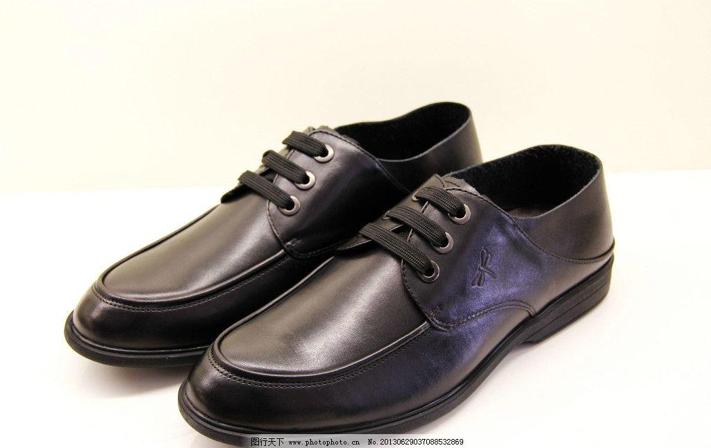 皮鞋 男士 真皮 红蜻蜓 鞋带 生活素材 摄影