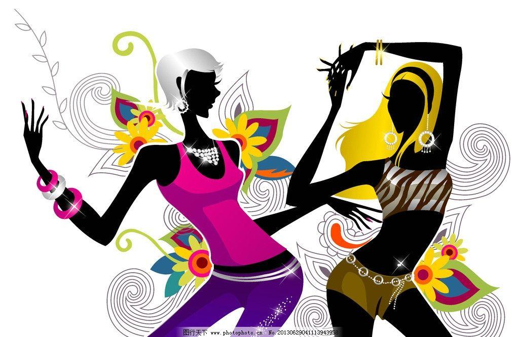 时尚少女 时尚女孩 跳舞 舞蹈 女性剪影 手绘少女 青春美少女