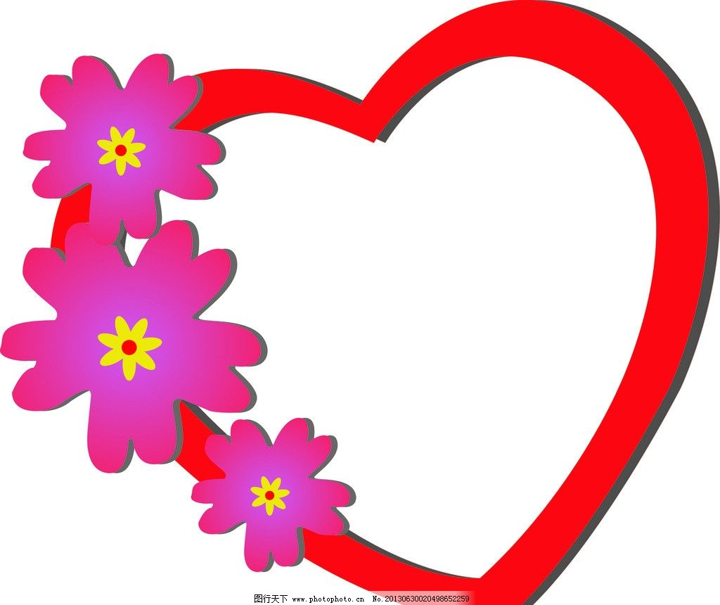 爱心花环 爱心 花环 红色 花朵 心 边框相框 底纹边框 矢量 cdr