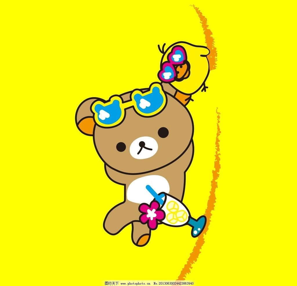 小熊 小鸟 黄色 海滩 可乐 野生动物 生物世界 矢量 cdr