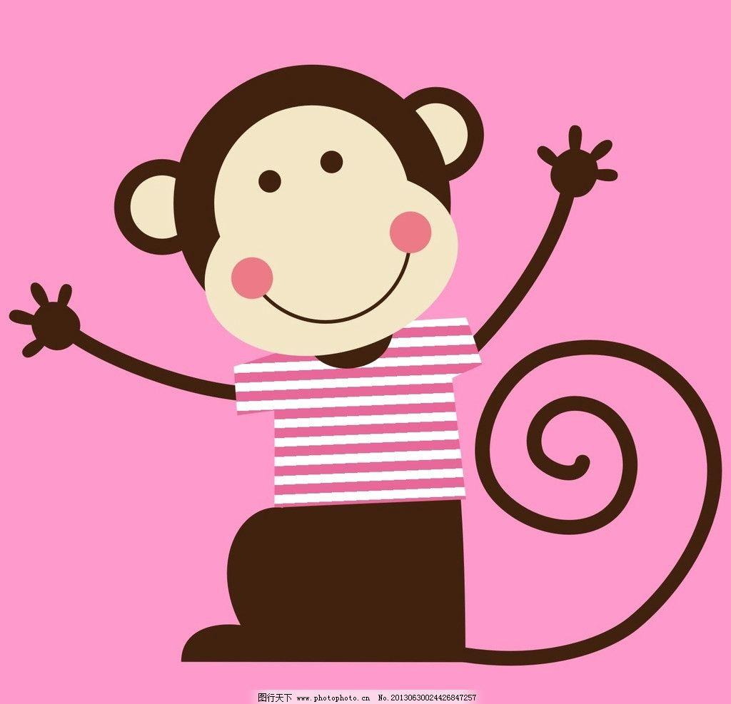 猴子 可爱 条纹 高兴 粉红 野生动物 生物世界 矢量 cdr
