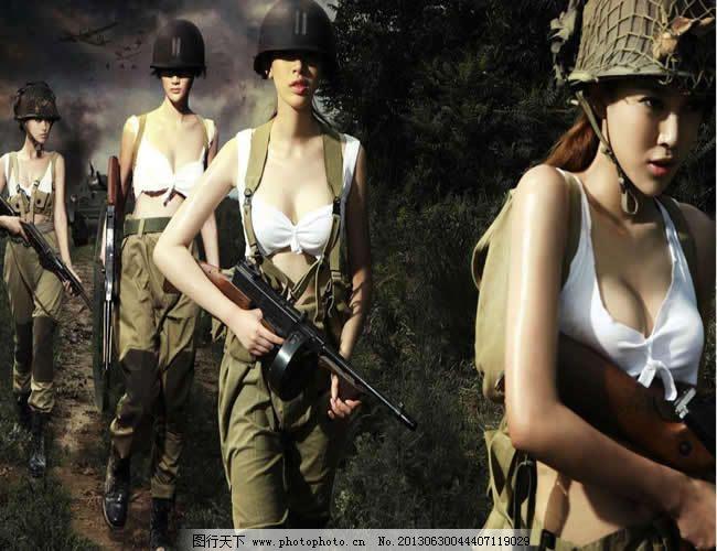 性感女兵战争背景ppt模板